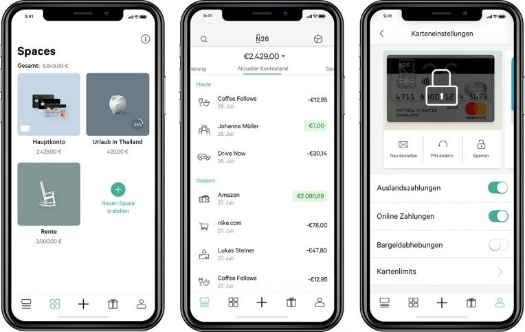 N26 In-App-Screens