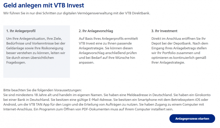 VTB Invest Depoteröffnung
