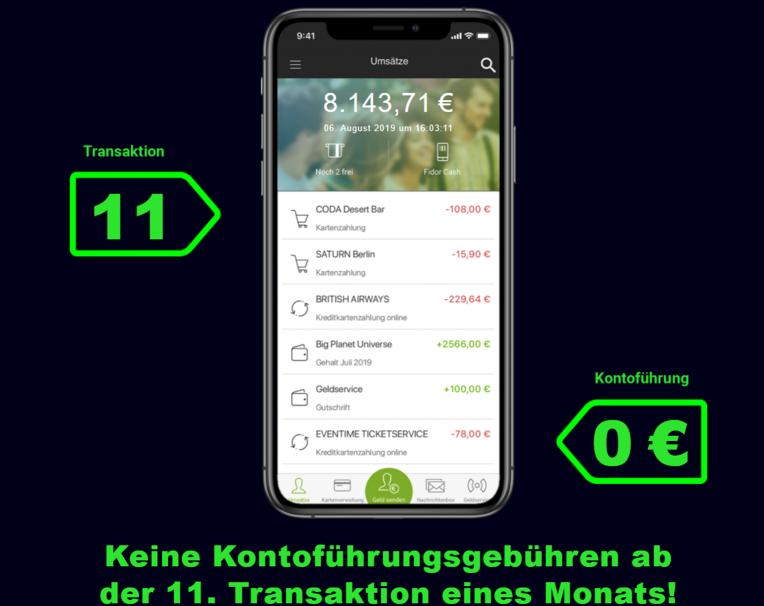 Fidor Bank Kontoführungsgebühren