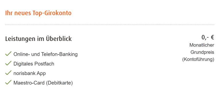 Das Top Girokonto der Norisbank