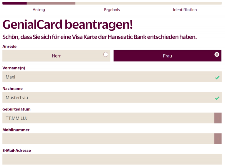 Hanseatic Bank Genial Card Antrag