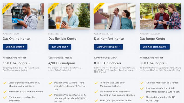 Postbank Girokonten zur Auswahl