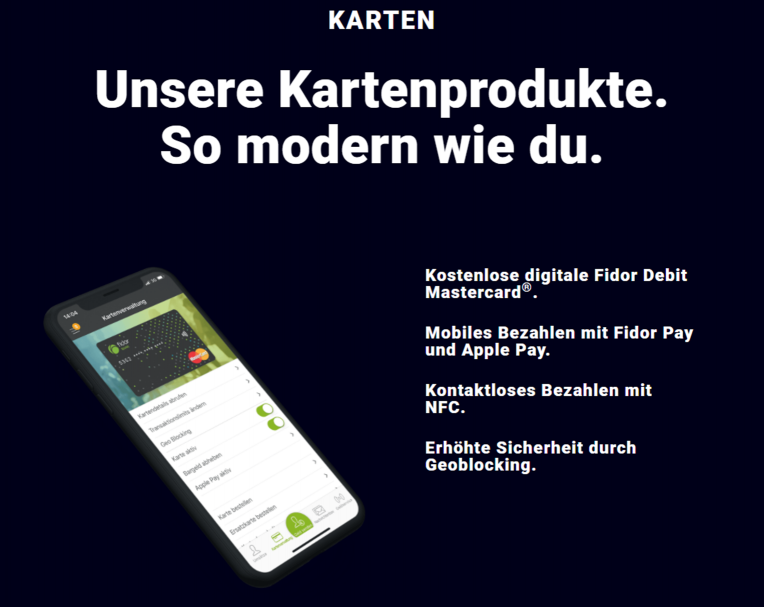 Fidor Smart Card Kartenprodukte