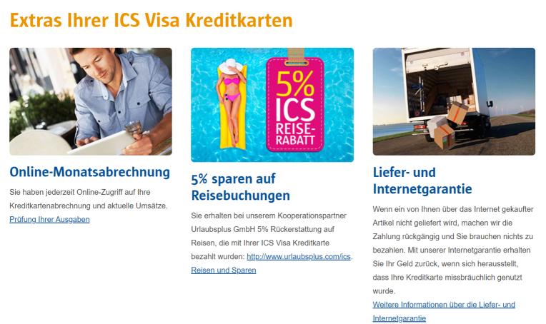 Extras der ICS Visa Kreditkarten