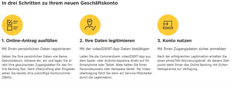 Kontoeröffnung in 3 Schritten- Commerzbank