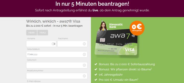 awa7 Kreditkarte Kontoeröffnung