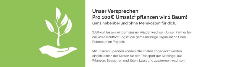 Pro 100€ Umsatz pflanzt awa7 einen Baum!