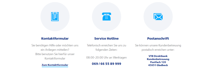 VTB Direktbank Kontaktdaten