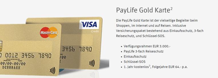 Die PayLife Gold Karte
