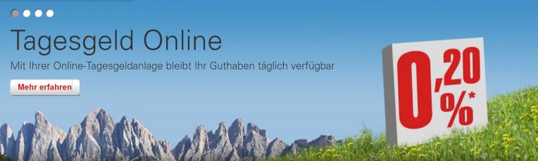 Südtiroler Sparkasse Tagesgeld - 0,20%